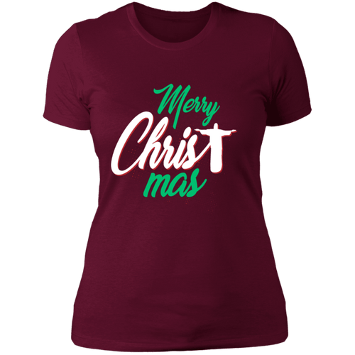 Designs by MyUtopia Shout Out:Merry CHRISTmas - Ultra Cotton Ladies' T-Shirt,Maroon / X-Small,Ladies T-Shirts