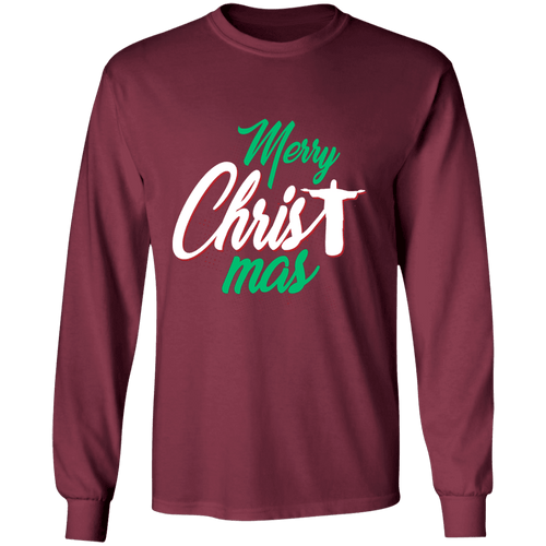 Designs by MyUtopia Shout Out:Merry CHRISTmas - Ultra Cotton Long Sleeve T-Shirt,Maroon / S,Long Sleeve T-Shirts