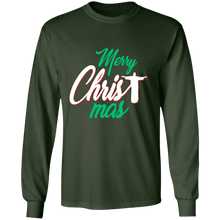 Load image into Gallery viewer, Designs by MyUtopia Shout Out:Merry CHRISTmas - Ultra Cotton Long Sleeve T-Shirt,Forest Green / S,Long Sleeve T-Shirts