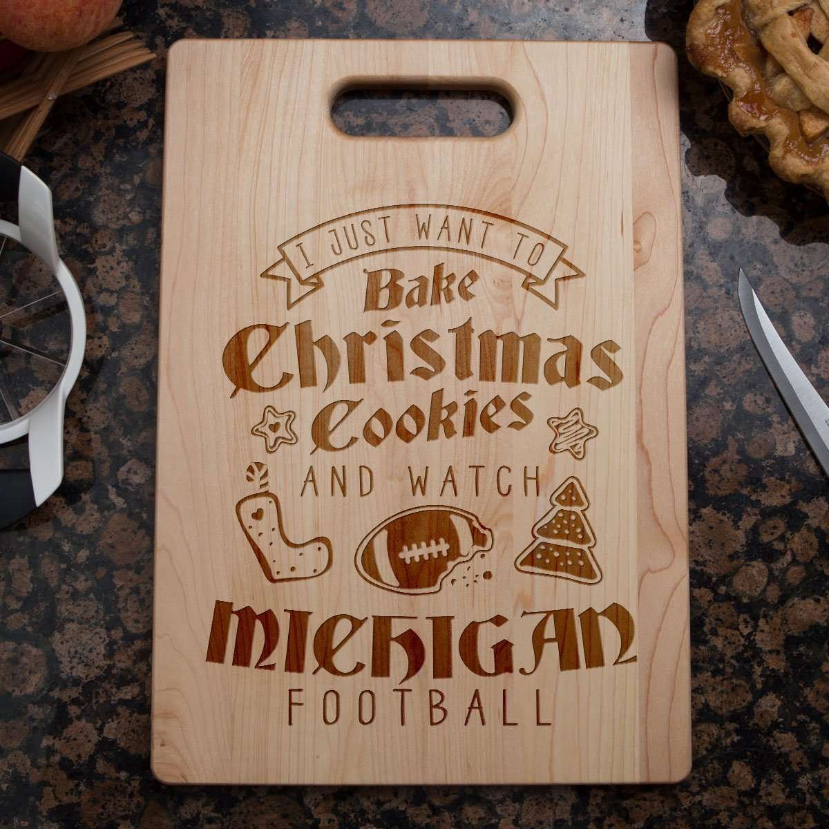 Designs by MyUtopia Shout Out:Michigan Football Christmas Engraved Cutting Board,6″ X 9″ / Maple,Cutting Board