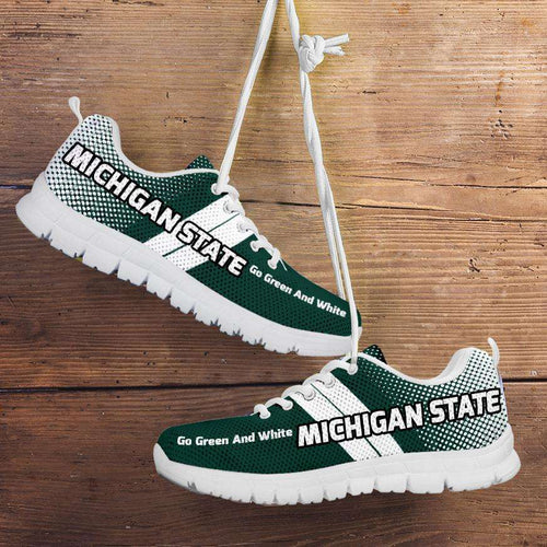 Designs by MyUtopia Shout Out:Michigan State Go Green and White Basketball Fan Running Shoes