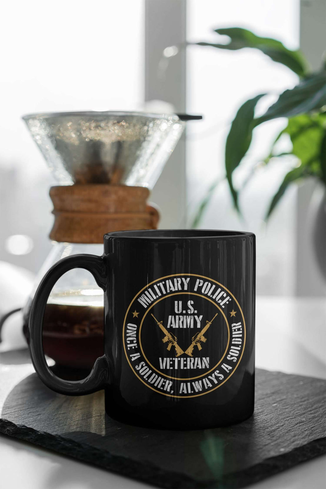 Designs by MyUtopia Shout Out:Military Police Veteran Black Ceramic Coffee Mug