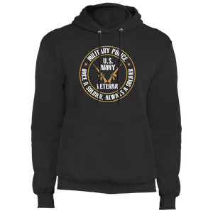 Designs by MyUtopia Shout Out:Military Police Veteran Core Fleece Pullover Hoodie,S / Jet Black,Pullover Hoodie
