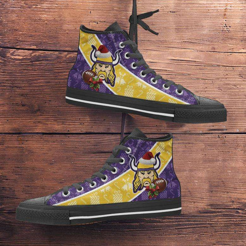 Designs by MyUtopia Shout Out:Minnesota Vikings Christmas Football Patten Canvas High Top Shoes,Men's / Mens US 5 (EU38) / Violet/Yellow,High Top Sneakers