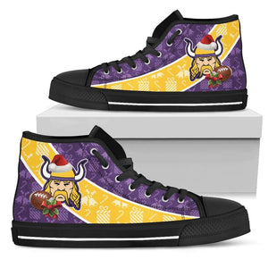 Designs by MyUtopia Shout Out:Minnesota Vikings Christmas Football Patten Canvas High Top Shoes