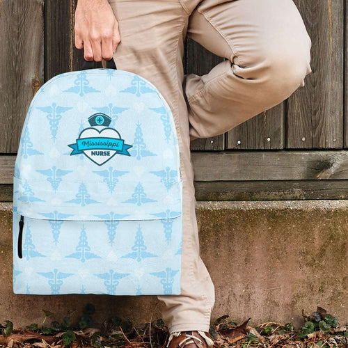 Designs by MyUtopia Shout Out:Mississippi Nurse Backpack Blue