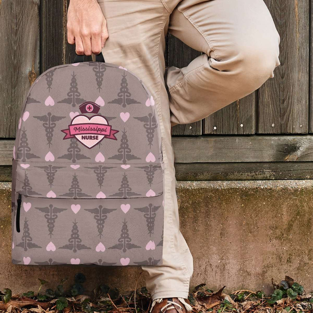 Designs by MyUtopia Shout Out:Mississippi Nurse Backpack Brown