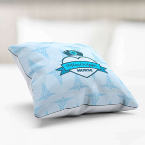 Designs by MyUtopia Shout Out:Mississippi Nurse Blue Pillowcase
