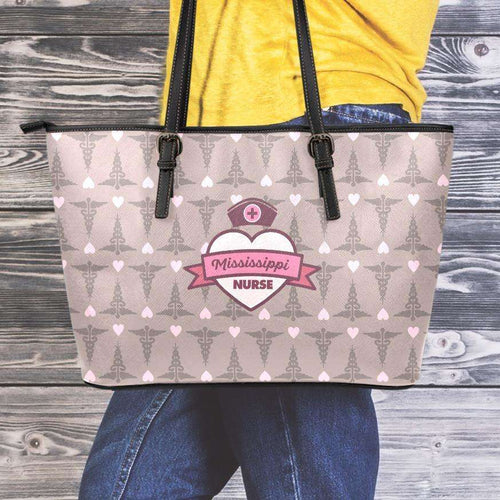 Designs by MyUtopia Shout Out:Mississippi Nurse Faux Leather Totebag Purse Brown,Medium (10 x 16 x 5) / Brown/Pink,tote bag purse