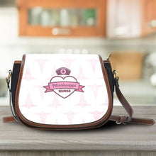 Load image into Gallery viewer, Designs by MyUtopia Shout Out:Mississippi Nurse Pink Canvas Saddlebag Style Crossbody Purse