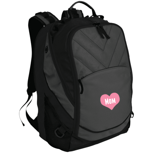 Designs by MyUtopia Shout Out:Mom Heart Pink Embroidered Laptop Computer Backpack,Dark Charcoal/Black / One Size,Backpacks