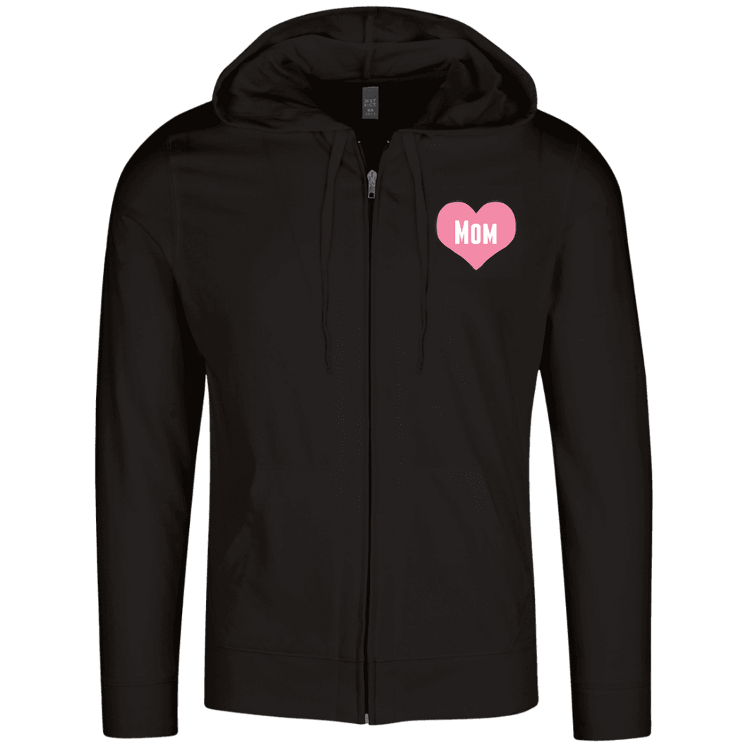 Designs by MyUtopia Shout Out:Mom Heart Pink Embroidered Lightweight Full Zip Hoodie,Black / X-Small,Sweatshirts