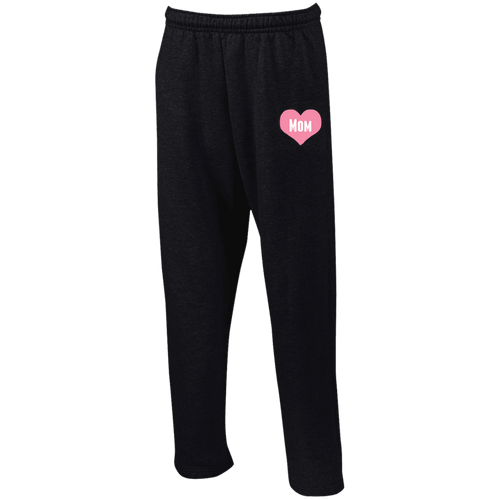 Designs by MyUtopia Shout Out:Mom Heart Pink Embroidered Open Bottom Sweatpants with Pockets,Black / S,Pants