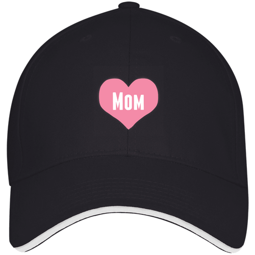 Designs by MyUtopia Shout Out:Mom Heart Pink Embroidered USA Made Structured Twill Cap With Sandwich Visor,Navy/White / One Size,Hats