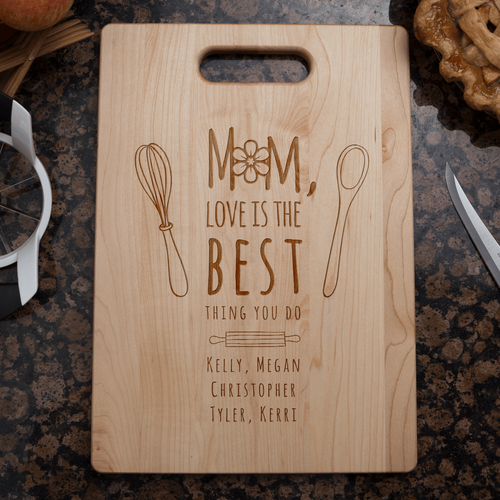 Designs by MyUtopia Shout Out:Mom, Love Is The Best Thing You Do Personalized Engraved Maple Cutting Board,🌟  Best Value 9 3/4″ X 13.5″,Cutting Board