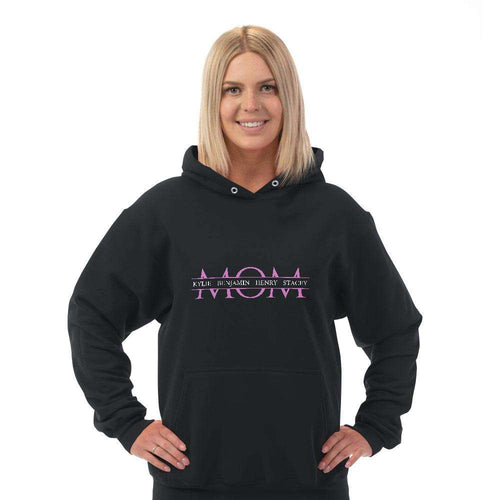 Designs by MyUtopia Shout Out:MOM Personalized with Kid's Names Adult Hoodie