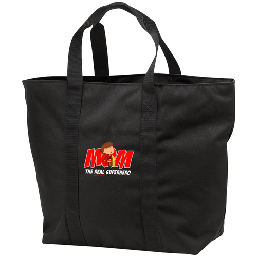 Designs by MyUtopia Shout Out:Mom The Real Superhero Embroidered All Purpose Tote Bag w Zipper Closure and side pocket,Black/Black / One Size,Totebag