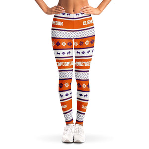 Designs by MyUtopia Shout Out:#More Tiger Pushups Clemson Fan - 3D Ugly Christmas Sweater Style Fashion Leggings,XS / Orange/White,Leggings - AOP