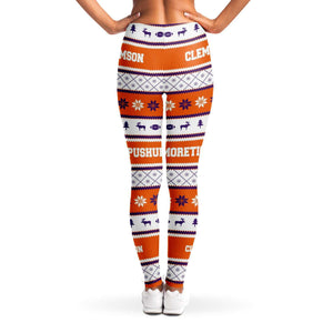 Designs by MyUtopia Shout Out:#More Tiger Pushups Clemson Fan - 3D Ugly Christmas Sweater Style Fashion Leggings