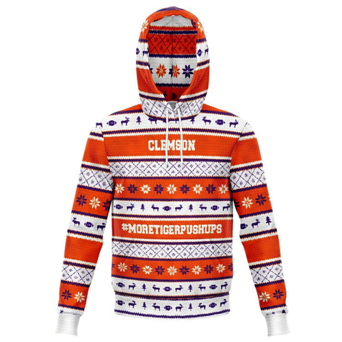 Designs by MyUtopia Shout Out:#More Tiger Pushups Clemson Fan - 3D Ugly Christmas Sweater Style Fashion Pullover Hoodie,XS / Orange/White,Fashion Hoodie - AOP
