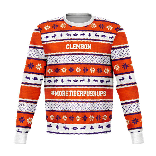 Designs by MyUtopia Shout Out:#More Tiger Pushups Clemson Fan - 3D Ugly Christmas Sweater Style Fashion Sweatshirt,XS / Orange/White,Fashion Sweatshirt - AOP