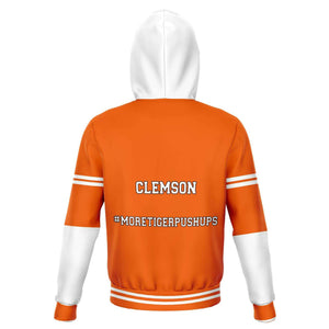 Designs by MyUtopia Shout Out:#MoreTigerPushups Clemson Fan - Fashion Fleece Lined Pullover Unisex Hoodie