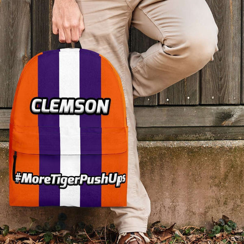Designs by MyUtopia Shout Out:#MoreTigerPushUps Clemson Fan Backpack