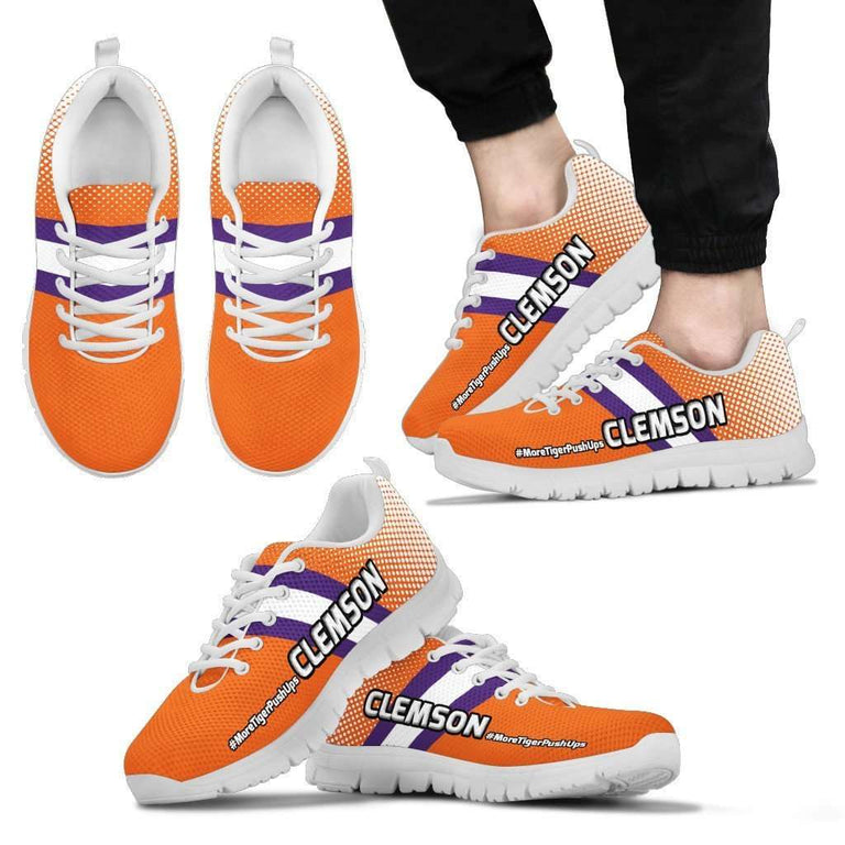Designs by MyUtopia Shout Out:#MoreTigerPushUps Clemson Fan Running Shoes