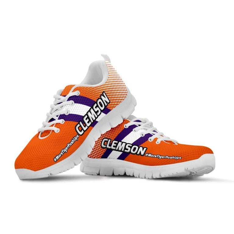 Designs by MyUtopia Shout Out:#MoreTigerPushUps Clemson Fan Running Shoes,Mens US5 (EU38) / Orange,Running Shoes