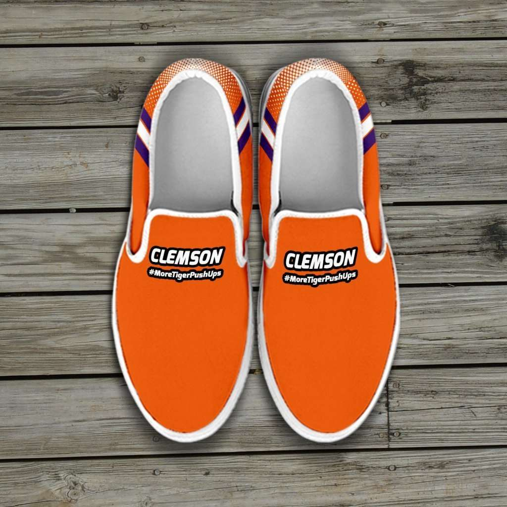 Designs by MyUtopia Shout Out:#MoreTigerPushUps Clemson Fan Slip-on Sneakers,Mens US8 (EU40) / Orange,Slip on sneakers