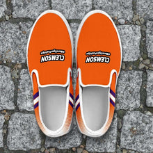 Load image into Gallery viewer, Designs by MyUtopia Shout Out:#MoreTigerPushUps Clemson Fan Slip-on Sneakers