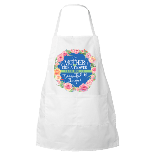 Designs by MyUtopia Shout Out:Mother Is Like A Flower Apron,White,Apron