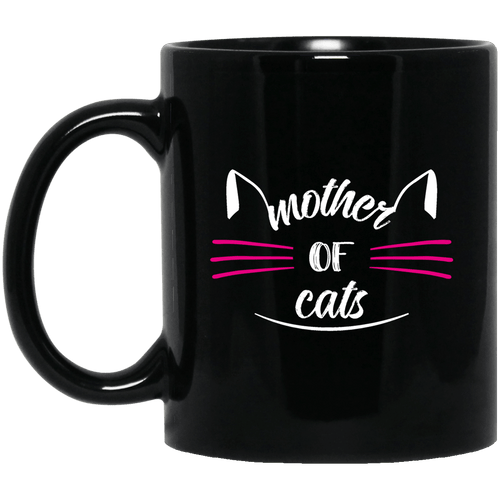 Designs by MyUtopia Shout Out:Mother of Cats Ceramic Coffee Mug - Black,Black / 11 oz,Ceramic Coffee Mug