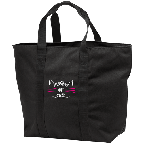 Designs by MyUtopia Shout Out:Mother of Cats Embroidered All Purpose Tote Bag w Zipper Closure and side pocket,Black/Black / One Size,Totebag