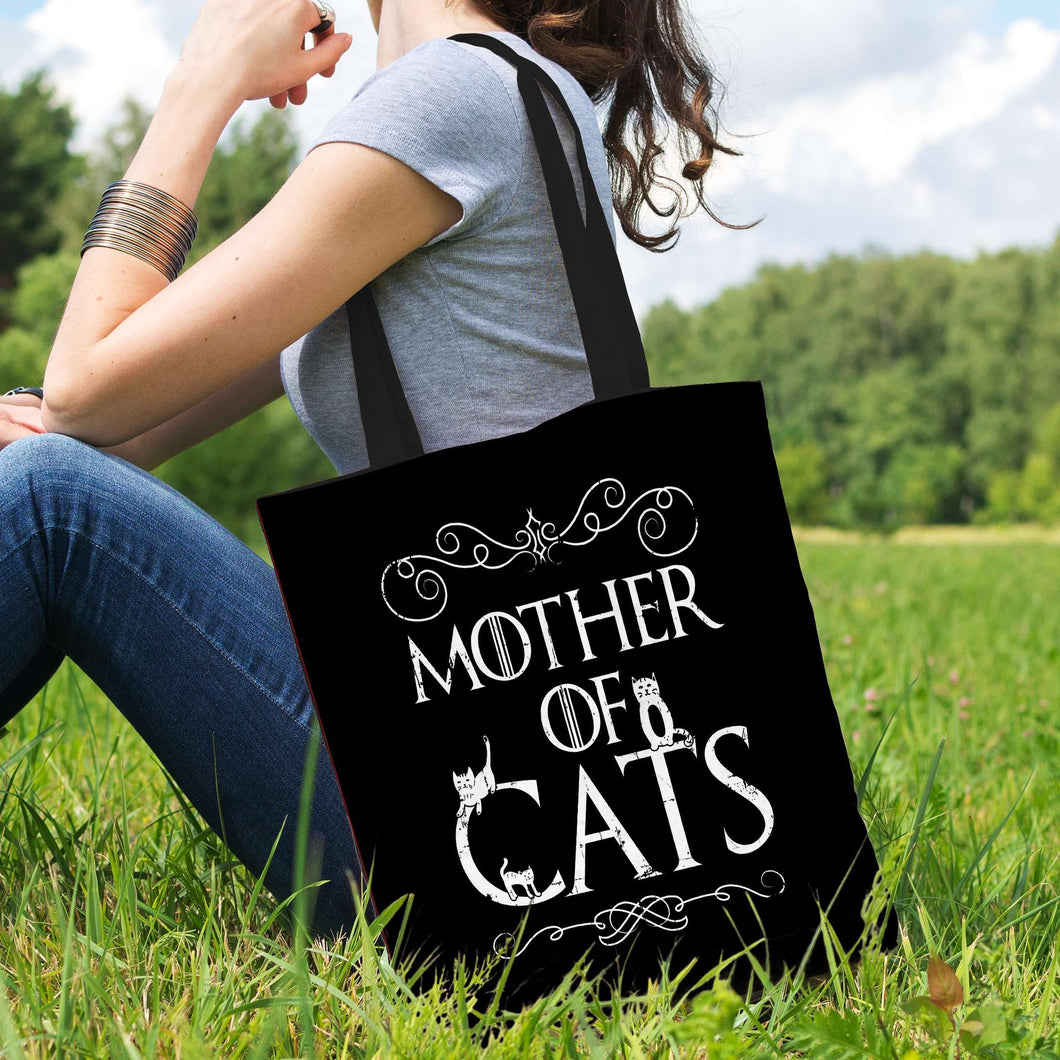 Designs by MyUtopia Shout Out:Mother of Cats Fabric Totebag Reusable Shopping Tote