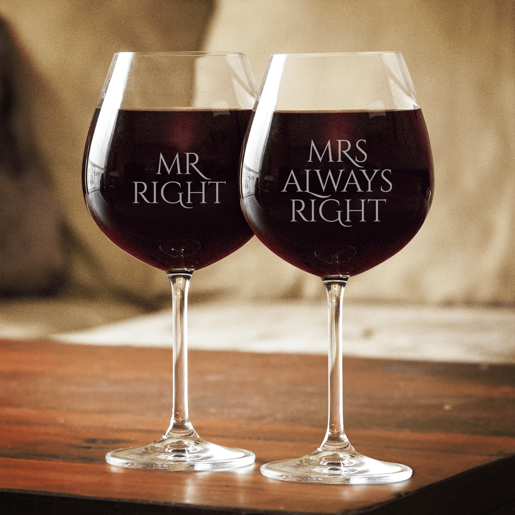 Designs by MyUtopia Shout Out:Mr. Right Mrs. Always Right Engraved Wine Glass Set (Pair)
