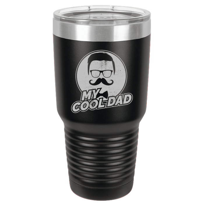 Designs by MyUtopia Shout Out:My Cool Dad Polar Camel 30 oz Engraved Insulated Double Wall Steel Tumbler Travel Mug,Black,Polar Camel Tumbler