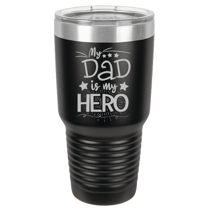 Designs by MyUtopia Shout Out:My Dad My Hero Engraved Polar Camel 30 oz Engraved Insulated Double Wall Steel Tumbler Travel Mug,Black,Polar Camel Tumbler