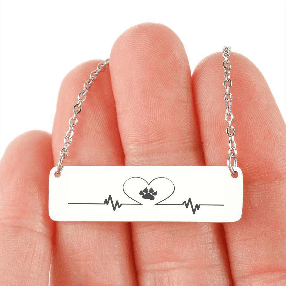 Designs by MyUtopia Shout Out:My Heart Beats Dog Love Engraved Horizontal Bar Necklace