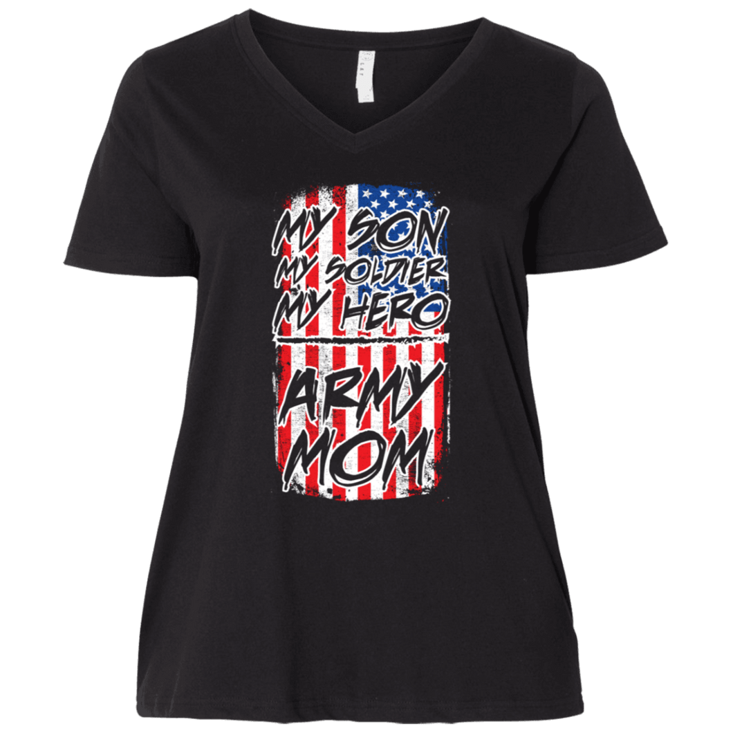 Designs by MyUtopia Shout Out:My Son My Soldier My Hero Army Mom Ladies' Curvy V-Neck Plus Size T-Shirt,Plus 1X / Black,Ladies T-Shirts