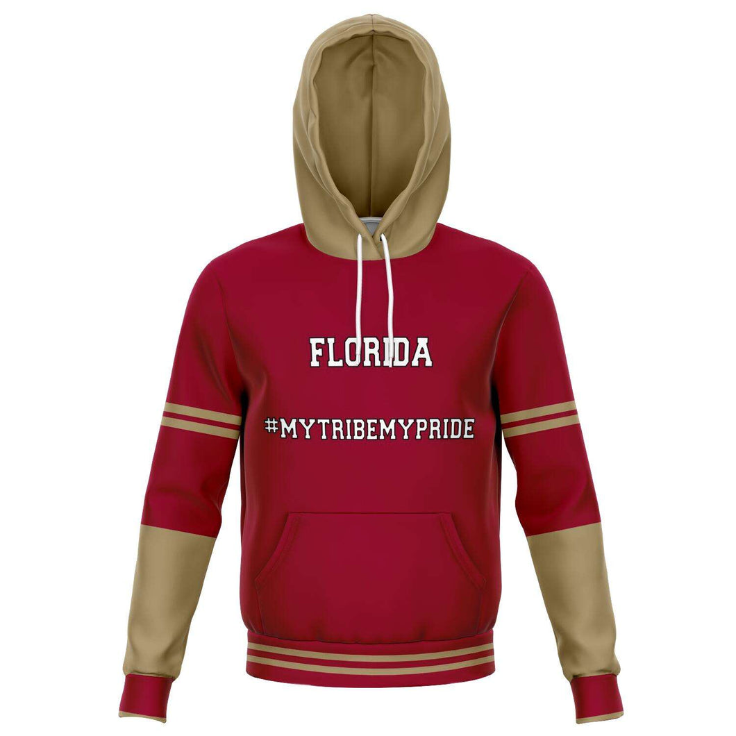 Designs by MyUtopia Shout Out:#MyTribeMyPride Florida Fashion Fleece Lined Pullover Hoodie,XS / Garnet,Fashion Hoodie - AOP