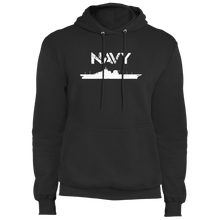 Load image into Gallery viewer, Designs by MyUtopia Shout Out:Navy Battleship Core Fleece Pullover Hoodie,S / Jet Black,Pullover Hoodie
