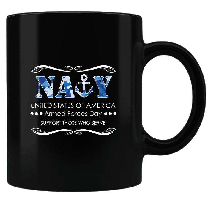 Designs by MyUtopia Shout Out:Navy U.S. of A. Armed Forces Day Support Those Who Serve Ceramic Coffee Mug,Black,Ceramic Coffee Mug