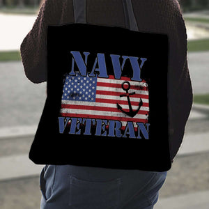 Designs by MyUtopia Shout Out:Navy Veteran w. American Flag and Anchor Fabric Totebag Reusable Shopping Tote