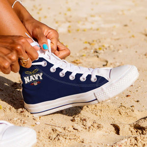 Designs by MyUtopia Shout Out:Navy Wings Canvas High Top Shoes,Women's / Ladies 6 (EU36) / Navy Blue,High Top Sneakers