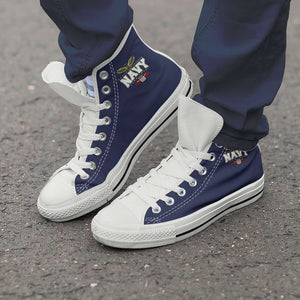 Designs by MyUtopia Shout Out:Navy Wings Canvas High Top Shoes,Men's / Men's US 8 (EU40) / Navy Blue,High Top Sneakers