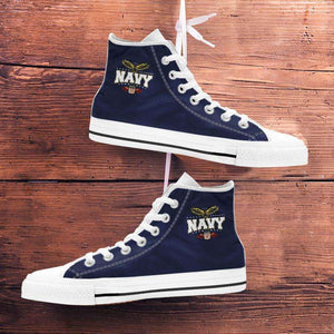 Designs by MyUtopia Shout Out:Navy Wings Canvas High Top Shoes