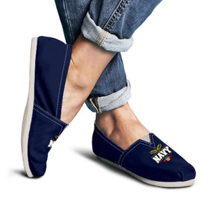 Designs by MyUtopia Shout Out:Navy Wings Casual Canvas Slip on Shoes Women's Flats,Ladies US6 (EU36) / Navy Blue,Slip on Flats