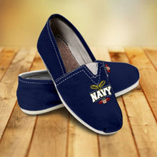 Load image into Gallery viewer, Designs by MyUtopia Shout Out:Navy Wings Casual Canvas Slip on Shoes Women's Flats