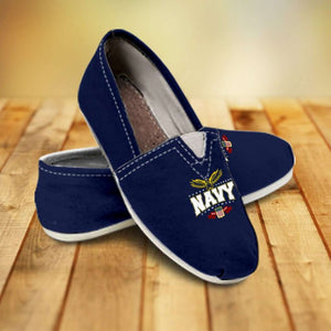 Designs by MyUtopia Shout Out:Navy Wings Casual Canvas Slip on Shoes Women's Flats